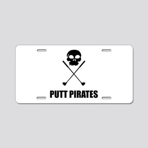 Golf Skull Crossed Putt Pirates Aluminum License P