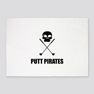 Golf Skull Crossed Putt Pirates 5'x7'Area Rug