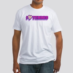 I Love Tennis Pink Fitted T-Shirt