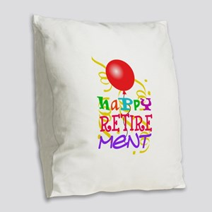 Happy Retirement Burlap Throw Pillow