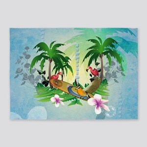 Tropical design with surfboard 5'x7'Area Rug