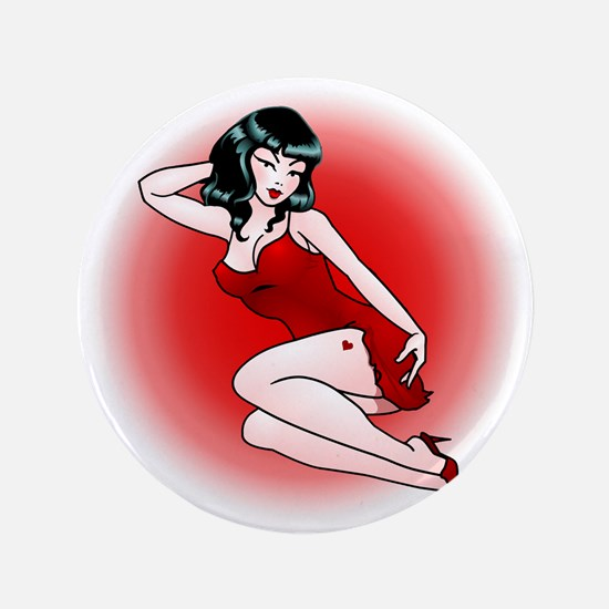 "Pinup Girl Retro Art 3.5"" Button"