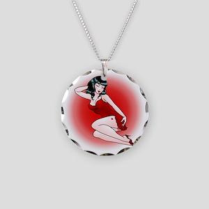 Pinup Girl Retro Art Necklace Circle Charm