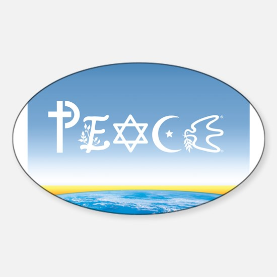 Peace On Earth at Sunrise Oval Decal