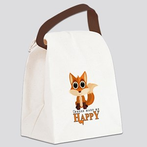 Foxes Make Me Happy Canvas Lunch Bag