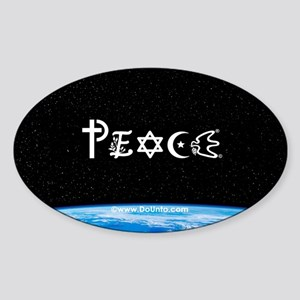 Peace on Earth at Night Oval Sticker