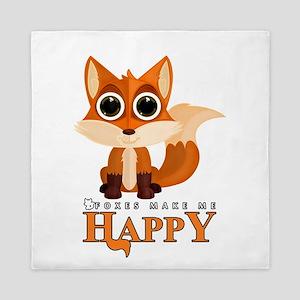 Foxes Make Me Happy Queen Duvet