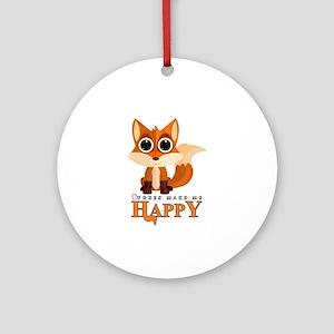 Foxes Make Me Happy Round Ornament