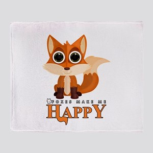 Foxes Make Me Happy Throw Blanket