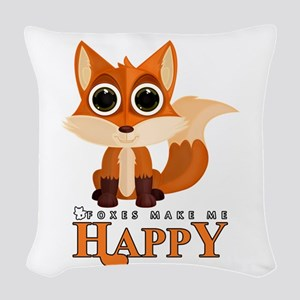 Foxes Make Me Happy Woven Throw Pillow