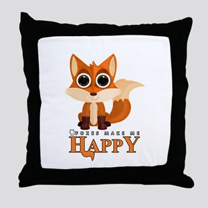 Foxes Make Me Happy Throw Pillow