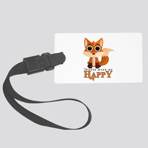 Foxes Make Me Happy Large Luggage Tag