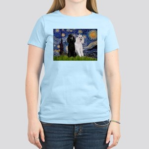 Starry Night / 2 Poodles(b&w) Women's Light T-Shir