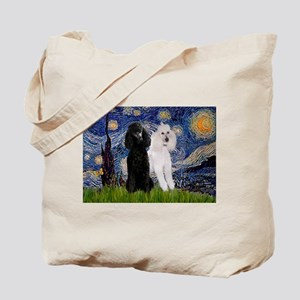 Starry Night / 2 Poodles(b&w) Tote Bag