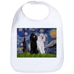Starry Night / 2 Poodles(b&w) Bib