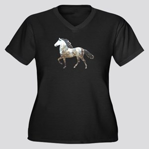 Mtn Horses Women's Plus Size V-Neck Dark T-Shirt