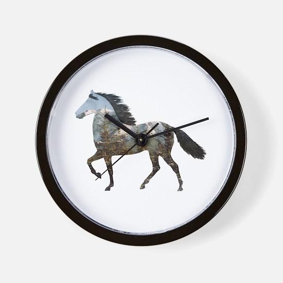 Mtn Horses Wall Clock