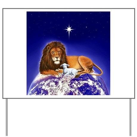 """""""Peace on Earth"""" Lion & Lamb (square) ~ Yard Sign"""