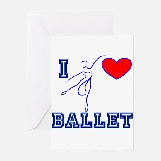 I Heart Ballet Dancer Navy Greeting Card
