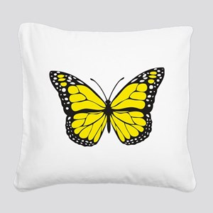 Yellow Butterfly Square Canvas Pillow