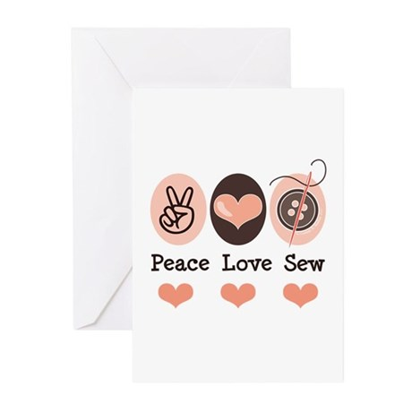 Peace Love Sew Sewing Greeting Cards (Pk of 20)