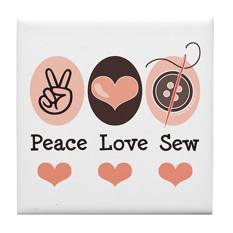 Peace Love Sew Sewing Tile Coaster