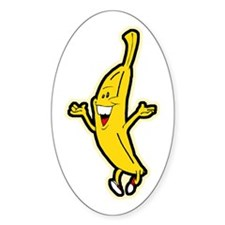 Dancing Banana Oval Sticker