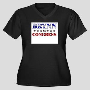 BRYNN for congress Women's Plus Size V-Neck Dark T