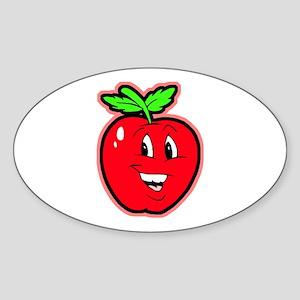 Happy Apple Oval Sticker