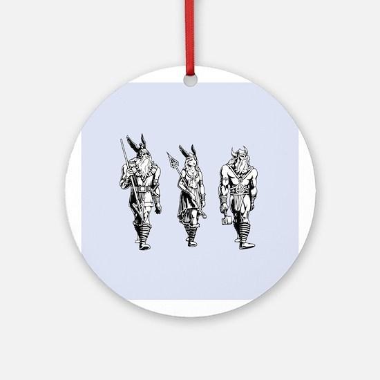 Odin Freyja & Thor Round Ornament