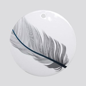 Gray Quill Round Ornament