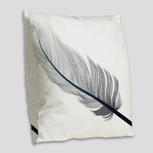 Gray Quill Burlap Throw Pillow