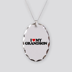 I LOVE MY GRANDSON Necklace Oval Charm