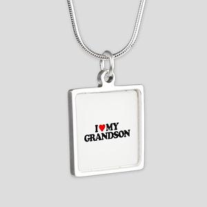 I LOVE MY GRANDSON Silver Square Necklace