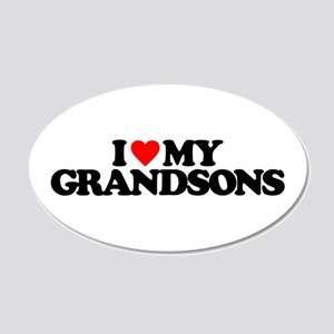 I LOVE MY GRANDSONS 20x12 Oval Wall Decal