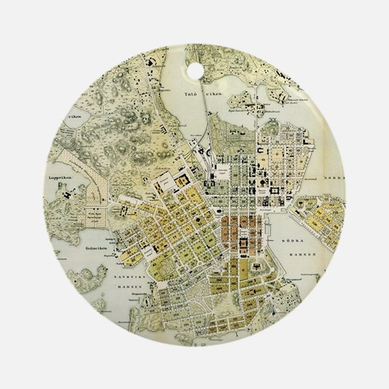 Vintage Map of Helsinki Finland (18 Round Ornament