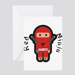 Red Ninja Greeting Cards