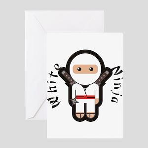 White Ninja Greeting Cards