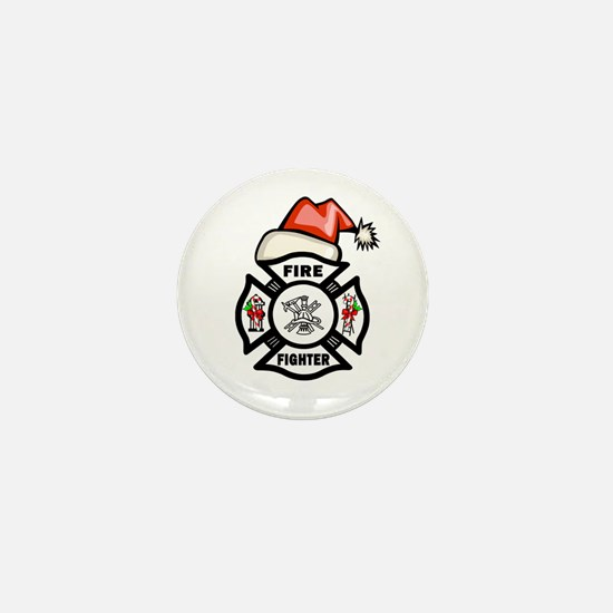 Firefighter Santa Mini Button