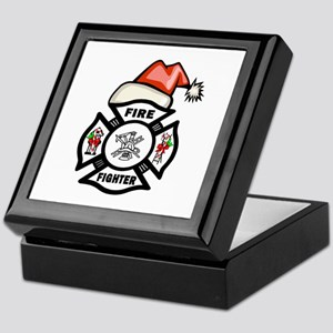 Firefighter Santa Keepsake Box