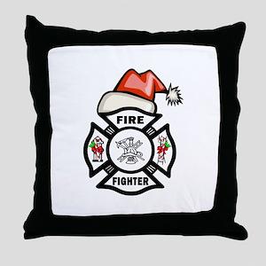 Firefighter Santa Throw Pillow