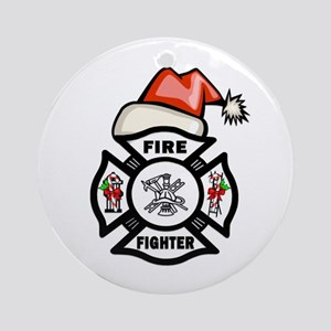 Firefighter Santa Ornament (Round)