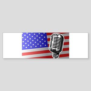 Stars And Stripes Microphone Bumper Sticker