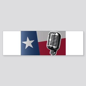 Texas Flag And Microphone Bumper Sticker