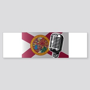 Florida Flag And Microphone Bumper Sticker