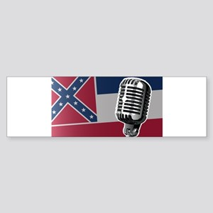 Mississippi Flag And Microphone Bumper Sticker