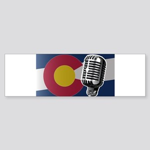 Colorado Flag And Microphone Bumper Sticker
