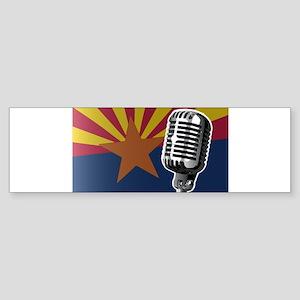 Arizona Flag And Microphone Bumper Sticker