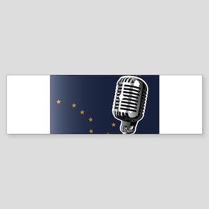 Alaska Flag And Microphone Bumper Sticker
