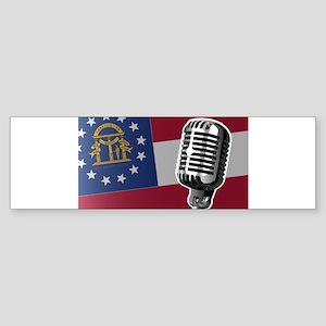 Georgia Flag And Microphone Bumper Sticker